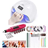 UV LED Nail Lamp Light Dryer with Electric Nail Drill and Nail Files Set, Fast Dry 48w Professional Nail Dryer Curing Lamp with Smart Sensor for Home and Salon(B)