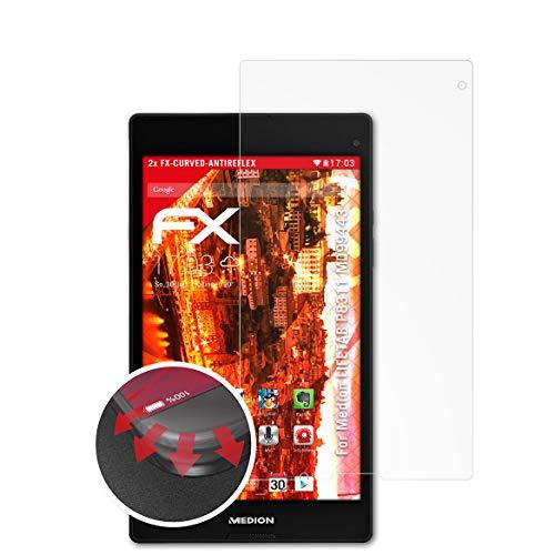 atFolix Schutzfolie kompatibel mit Medion LIFETAB P8311 MD99443 Folie, entspiegelnde und Flexible FX Displayschutzfolie (2X)