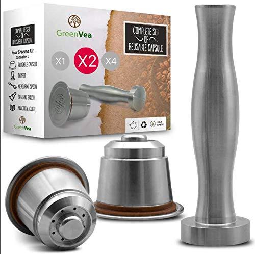 Greenvea - Kit complet de capsule à café Nespresso rechargeable et réutilisable. Capsule réutilisable café & thé en acier inox eco-friendly (2 Capsules)