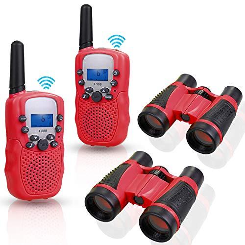 Anpro 2Stk Walkie Talkie Set mit 2Stk 5x30 Ferngläser, Kinder Funkgeräte 1-3KM Reichweite 8 Kanäle 2-Wege-Radio-Spielzeug mit Taschenlampe LCD Bildschirm Geschenk für Kinder, Rot