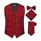 S.H. Churchill & Co. Men's 4 Piece Paisley Vest Set, with Bow Tie, Neck Tie & Pocket Hanky - L, Red/Black