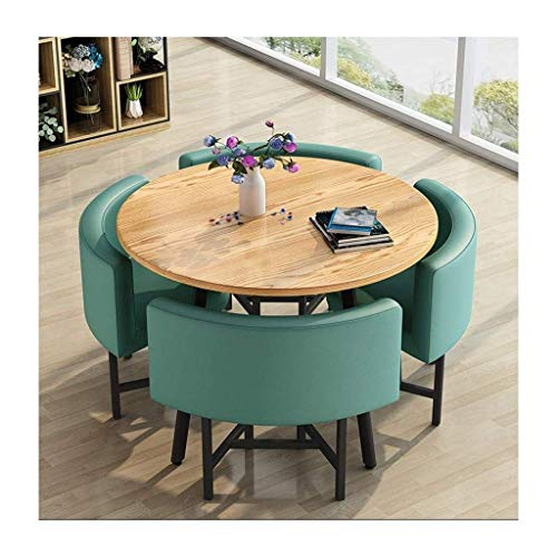 N/Z Daily Equipment Negotiating Home Table Chair Combination Simple Reception Leisure 5 Piece Modern Round Vintage Leather Coffee Sofa Seat Office Lounge Table and Chair Set (Color : Green)