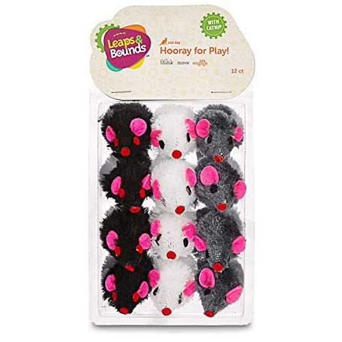 Leaps & Bounds Fuzzy Mice Cat Toys with Catnip, Pack of 12, Multi-Color