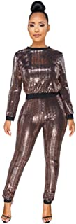 Women Sexy Sequin See Through Mesh Stripe 2 Pieces Outfits Lantern Sleeve Crop Tops and Long Pants Jumpsuit Set