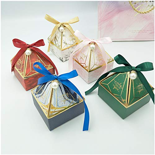 25PCS Paper Candy Box for Favor Christmas Box Gift with 25 Ribbon Wedding Favour Boxes Vase Shape Party Gift Box Creative Paper Treat Boxes with Ribbons for Cookies Chocolate