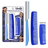 Beard Comb For Men Razor - Straight Edge Combs For Grooming Vertex Mens Beards Edgers Shaping Tool At Home Goatee Shaper   Mustaches Edger Angles   Travel Razors Disposable Stainless Steel Blade Straightener