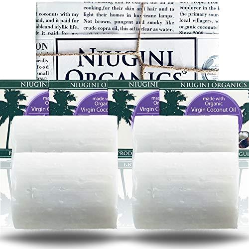 4 x Le Savon Le Plus Pur du Monde NIUGINI ORGANICS | Savon à la noix de coco | Fabriqué à base d'huile de noix de coco biologique et d'huile essentielle de lavande | 4 x 100g | SANS HUILE DE PALME