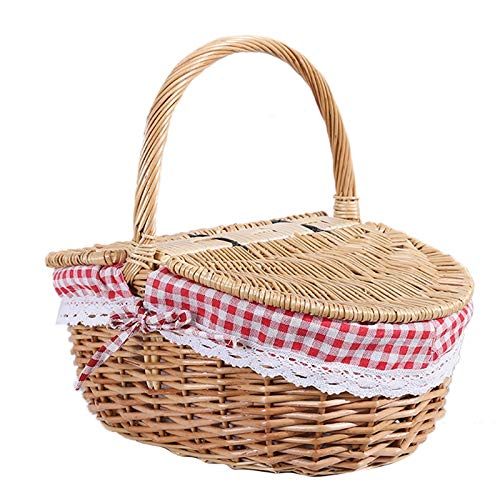 Cuasting Wicker Basket Willow Picnic Basket Hamper Shopping Basket Bag with Lid and Handle and Liner for Outdoor Camping Picnic