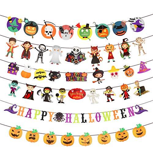 Bunting Banner Halloween LANMOK 6pcs Banderas Adornos Colgantes Estandarte Temática Horror Banderines Decoración Calabaza para Celebración Fiestas Halloween Carnaval