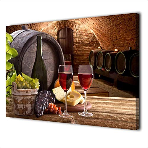 XLXZZ Uvas Copa de Vino Arte de la Lona Barril de Vino Carteles de Bodega Impresiones Cuadros de Pared Pinturas Decoración para el hogar-50x70cmx1 pcs sin Marco