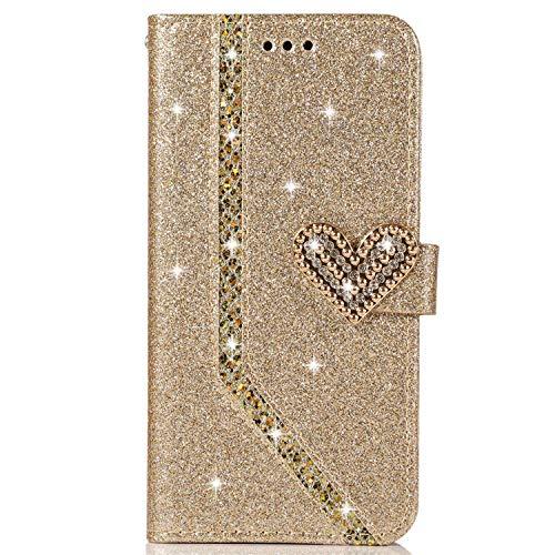 Blllue Schutzhülle für Samsung Galaxy A31, mit Glitzer-Diamanten-Schnalle, PU-Leder, goldfarben