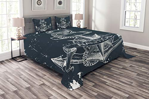 ABAKUHAUS Marine Tagesdecke Set, Knot Anker Kompass, Set mit Kissenbezügen Weicher Stoff, für Doppelbetten 264 x 220 cm, DunkelBlau-weiß