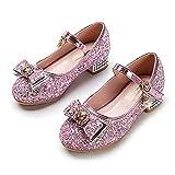 YOSICIL Zapatos de Princesa para Niñas Elsa Disfraz de Carnaval de Fiesta Zapatos de Lentejuelas Zapatos de Cristal de Baile para Fiesta Cumpleaños Carnaval 3-14 Años