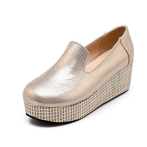 Odomolor Damen Mittler Absatz Rein Ziehen auf Rund Zehe Pumps Schuhe, Golden, 36