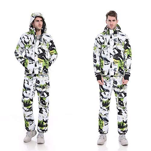 YRFDM Combinaison de Ski,Hiver Impression Nouveau Hommes Ski Suit Super Warm Vêtements Ski Snowboard Veste Pantalon Costume Coupe-Vent Imperméable Vêtements d'hiver, Vert, XL