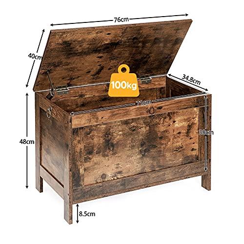 HOOBRO Spielzeugkiste, Sitzbank mit großer Stauraum, Vintage Schuhbank, Betttruhe, Flur, Schlafzimmer, Wohnzimmer, Holz, einfach zu montieren, Dunkelbraun EBF75CW01 - 3