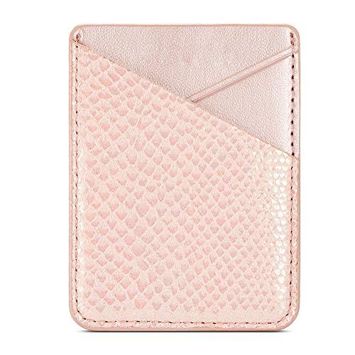 Sweet48 - Soporte para tarjetas, piel sintética, autoadhesivo, portátil, tarjetero, monedero, universal, adhesivo para el teléfono móvil (rosa), No cero., Rosa., Tamaño libre