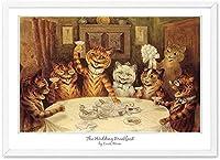 キャンバスプリントモダン抽象キャンバス絵画猫は朝食の創造性ポスターを食べる家の装飾の写真のための面白い動物の壁の芸術40x60cmフレームなし