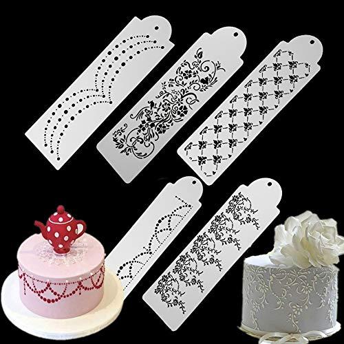 ECOSWAY, 5-teiliges Set für Hochzeitskuchen, seitliche Bordüre, Dekorationsschablone, Dekorationswerkzeuge mit Tortenspitze, Fondant, Kuchen, Zucker, Sieb