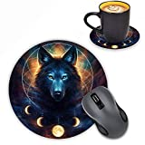 LOWORO Round Mouse Pad with Coasters Set, Wolf and Moon Picture Design Mouse Pad Non-Slip Rubber Mousepad Office Accessories Desk Decor Mouse Pads for Computers Laptop
