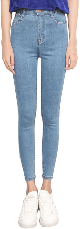 TSINY G Women's Fashion High Waist Elasticity Jeans Casual Slim Pencil Pants ( color   Light bluee , Size   32 )
