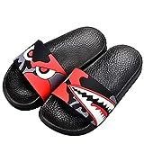 JACKSHIBO Boys Girls Slide Sandals, Outdoor Indoor Sandals Beach Water Flip Flop BlackRed 12.5 little kid