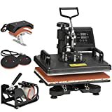 F2C Pro 5 in 1 Swing-Away Digital Transfer Sublimation Heat Press Machine Hat/Mug/Plate/Cap/T-Shirt Multifunction New Black (5 in 1 Swing Away)
