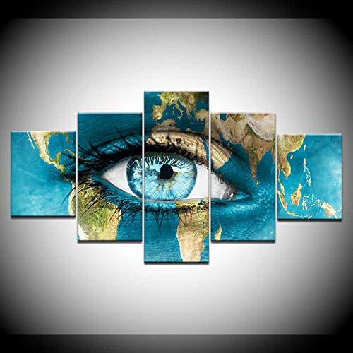 DGGDVP 5 paneel/stuks, HD print A blauwe ogen in kaart gekleurde tekening druk op canvas, kunstschilderij voor thuis, woonkamer, decoratie 30x40cmx2,30x60cmx2,30x80cmx1 Met frame.
