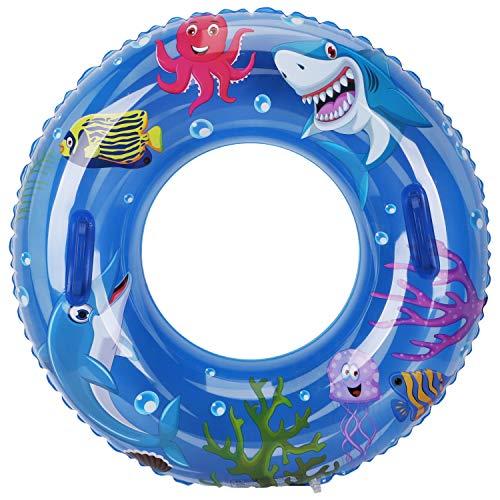 Leader Accessories Schwimmring Aufblasbar Schwimmreifen mit Griffen Kinder ab 8 Jahren 20-40KG Fische Ø60cm