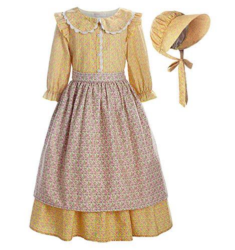 Matt Viggo ReliBeauty Disfraz de Jardinero Granjero de Sirvienta Carnaval Disfraz Bebe niña con Delantal, Amarillo,5-6 años