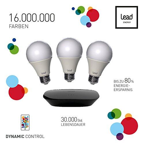 LEAD energy | A60 LED Leuchtmittel E27 | RGBW | 3er Starter Set inkl. Gateway | LED Lampen | RGBW Steuerbar mit App | 16 Mio Farben | Warmweiß | Dimmbar | WDC65 | LEAD Dynamic