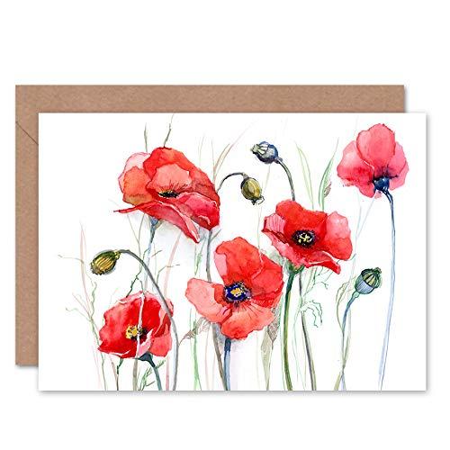 Bloemen Schilderen Van Papavers Wenskaart Met Envelop Binnen Premium Kwaliteit
