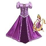 Fanstyle Petites Filles Robe de Princesse Manches Juliettes Costume Violet Robe de Cosplay emmêlée Rapunzel Robe Princesse Lepe