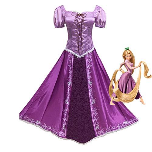 Hotcostyle Tangled Purple Dress Rapunzel Cosplay Costume Princess Lepe Dress Purple Magic Dress