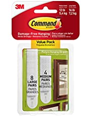 Command 17209 Fotomontagestrips, Ophangen Zonder Fotohaken, Zonder Lijmresten Te Verwijderen, Multi Pack (4 x 2 Strips Maat M & 8 x 2 Strips Maat L), Wit