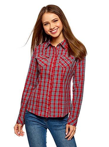 oodji Ultra Mujer Camisa a Cuadros de Algodón, Rojo, ES 36 / XS