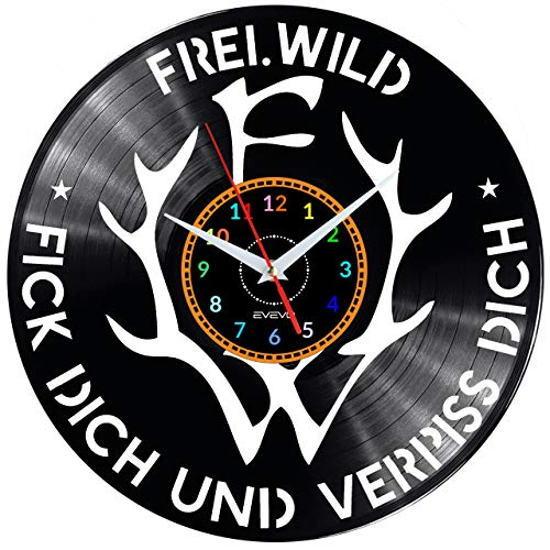 EVEVO Frei.Wild Wanduhr Vinyl Schallplatte Retro-Uhr Handgefertigt Vintage-Geschenk Style Raum Home Dekorationen Tolles Geschenk Uhr Frei.Wild