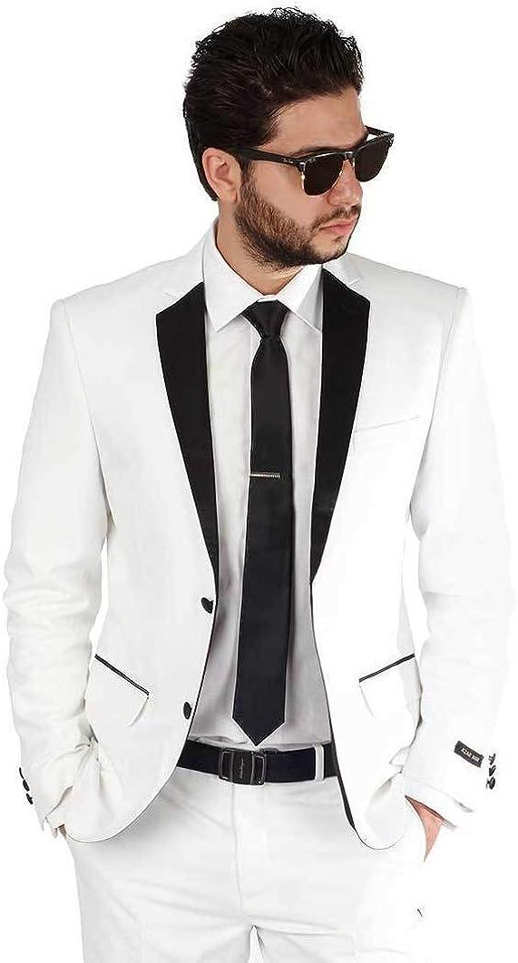 Slim Fit 2 Button Notch Lapel Tuxedo Jacket Satin Collar Dinner Blazer AZAR