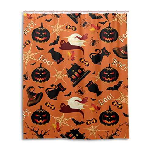 JSTEL Decor Rideau de Douche rétro imprimé Halloween 100% Polyester Tissu Rideau de Douche 152 x 183 cm