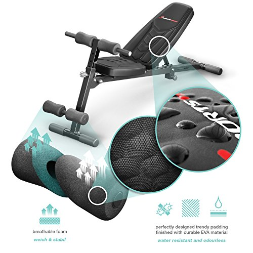 Sportstech Innovative Weight Bench 8in1 with Unique Design made of EVA Padding Material | Intelligent Folding System BRT500 foldable- Anti-Slip | Push-up Grips | Flat Bench with Preacher Curl & Poster