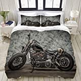 MOBEITI Set Biancheria da Letto,Harley Moto Cool Davidson Vintage Bike Chopper Classic,Set Copripiumino in Microfibra,Matrimoniale,1 Copripiumino220 x 240cm + 2 federe 50 x 80 cm