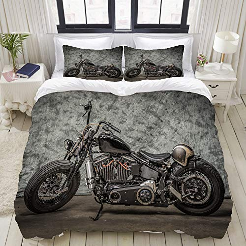 MOBEITI Bettwäsche-Set,Harley Motorrad Cool Davidson Vintage Bike Chopper Classic,Dekoratives 3-teiliges Bettwäscheset mit 2 Kissenbezügen,Einzelgröße(135 x 200cm)