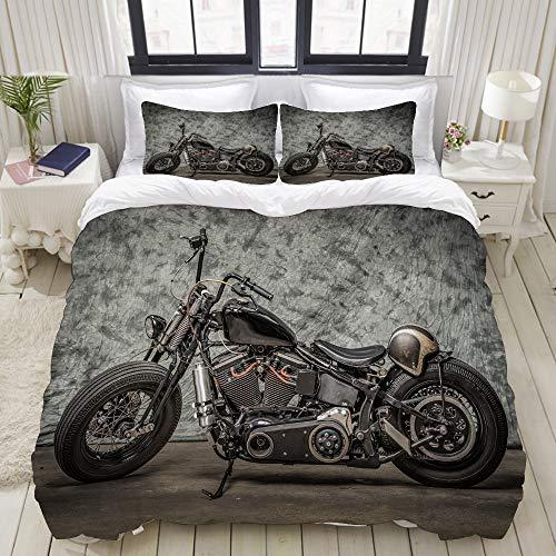 MOBEITI Set Biancheria da Letto,Harley Moto Cool Davidson Vintage Bike Chopper Classic,Set Copripiumino in Microfibra,Matrimoniale,1 Copripiumino200 x 200cm + 2 federe 50 x 80 cm