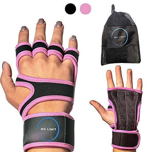 NoLimit® Guantes de fitness para hombre y mujer (rosa/negro) con muñequera | adecuados para crossfit, entrenamiento y guantes de deporte.