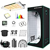 "MARS HYDRO Grow Tent Kit Complete TS 600W LED Grow Light 2x2ft Full Spectrum Indoor Grow Tent Kit 24""x24""x55"" Hydroponics Grow Tent 1680D Canvas with 4"" Ventilation Kit for Grow Setup Kit Tent Kit"