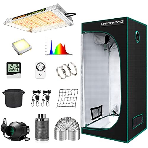"MARS HYDRO Grow Tent Kit Complete TS 600W LED Grow Light 2x2ft Full Spectrum Indoor Grow Tent Kit 24'x24'x55' Hydroponics Grow Tent 1680D Canvas with 4"" Ventilation Kit for Grow Setup Kit Tent Kit"