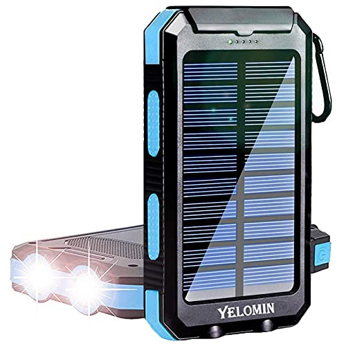 Solar Power Bank, YELOMIN 20000mAh Portable Solar Charger, Waterproof Backup Battery Pack with Dual USB 5V Outputs/LED Flashlights and Compass for Cellphones, Tablets and Electronic Devices(Blue)