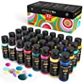 Arteza Tempera Washable Paint for Kids, Set of 32, 2.03oz/60ml Bottles, Poster Paint for Craft Projects, Sponge Painting & Finger Painting, Includes Neon, Glitter & Glow-in-The-Dark