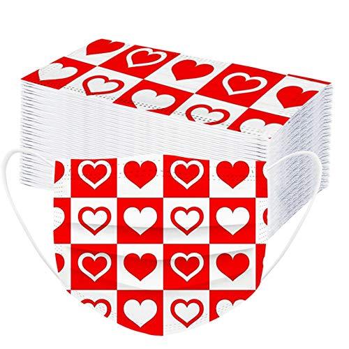 Erwachsene Love Alles Gute zum Valentinstag ??????-?????????? ???????????? ??????,Atmungsaktive Gesichtsbedeckungen für Laufen Radfahren 50 Stück (50 Stück B)