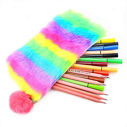 Funny live Rainbow Pencil Pen Case, Large Capacity Stationery Storage Bag Pouch, Fashion Plush Ball Laser Cosmetic Bag for Women Girls